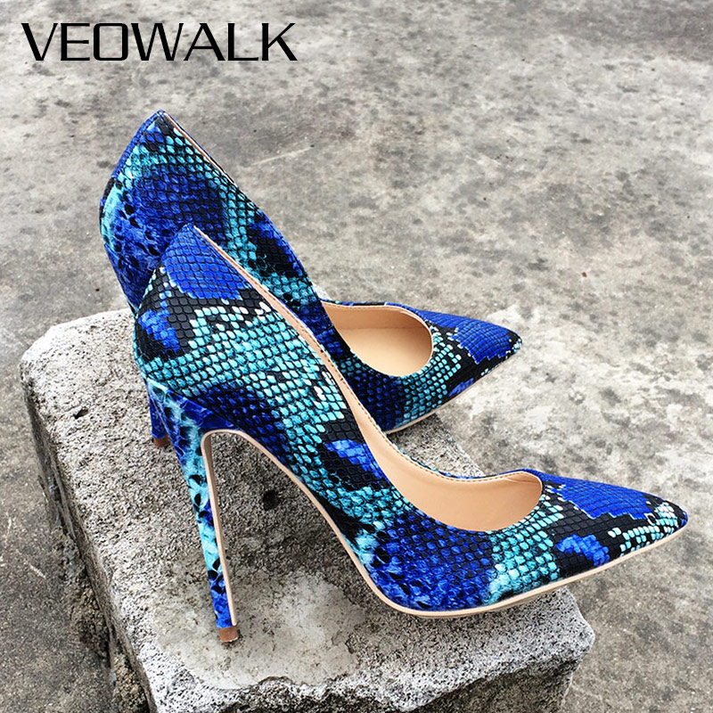 Veowalk Snake Printing Leather Women Super High Heels Sexy Ladies Pointed Toe Stiletto Pumps Slip on Heeled Party Shoes Blue