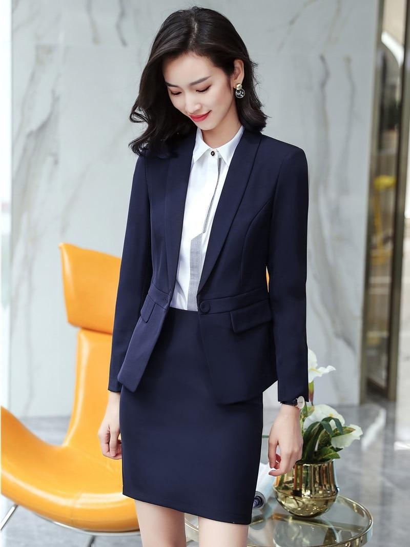 038e8024832b AidenRoyFormal Navy blue Blazer Women Skirt Suit Ladies Business Suits Suit  Work Wear Sets Office Uniform Style