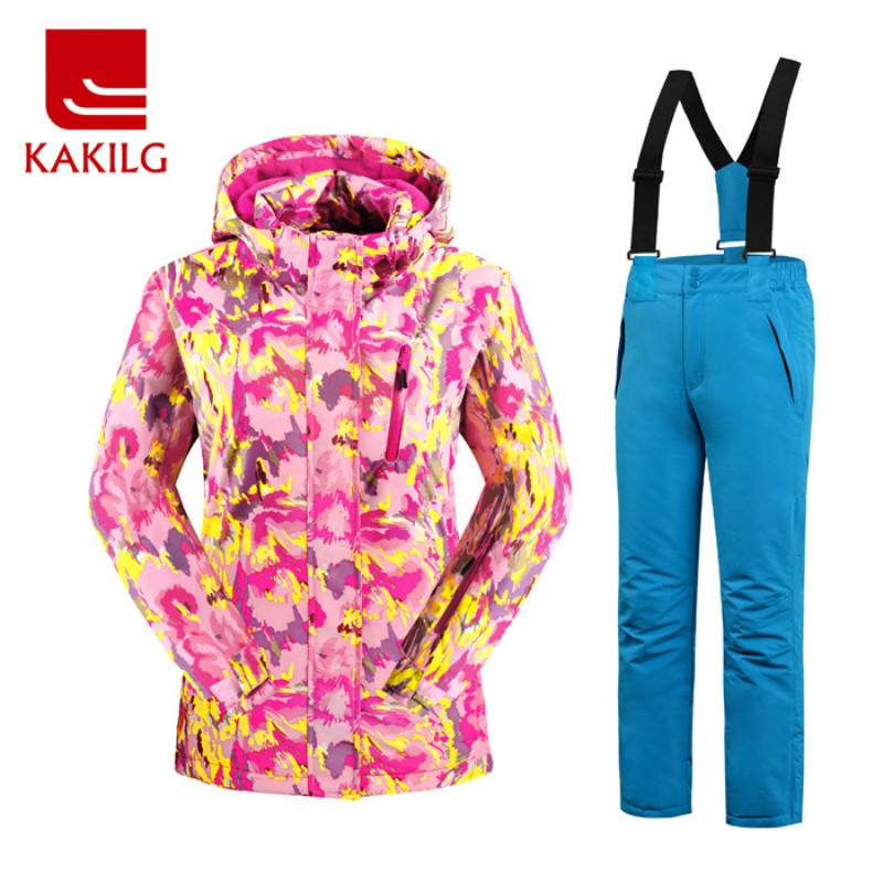 KAKILG Winter Outdoor Girls Ski Suit Skiing Jackets Set Children Sports Waterproof Clothing Set Thickening Warm Jackets + Pants