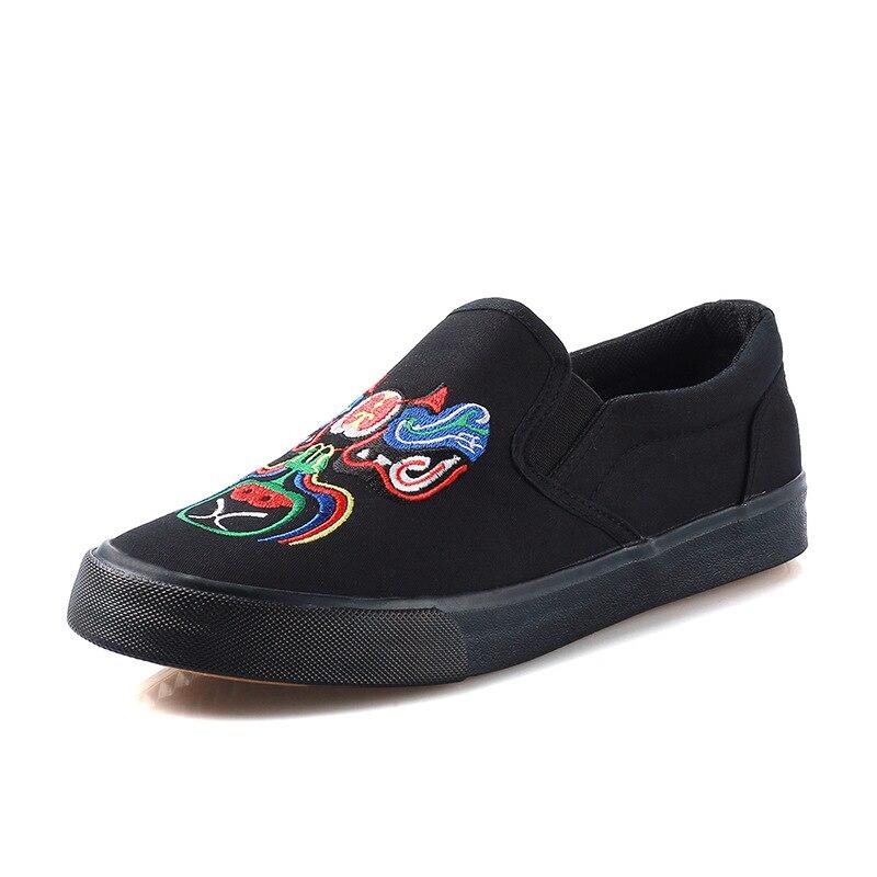 Negro púrpura Lona 2017 Hecho Nuevo Zapatos lavanda A Mano Chino Perezosos Solos Viento Planos Bordado waqF7Tq