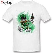 Slim Fit Cartoon T-shirt Men's Funny Tops & Tees Green Cotton O-neck Short Sleeve Summer Autumn Casual Clothing Vintage Ranger(China)