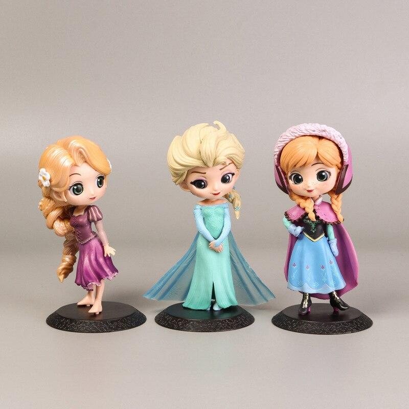 Disney Princess Figures Frozen 3pcs/Set 16cm Elsa Anna Rapunzel  Action Figures PVC Model Collection Figurine Toys For Children