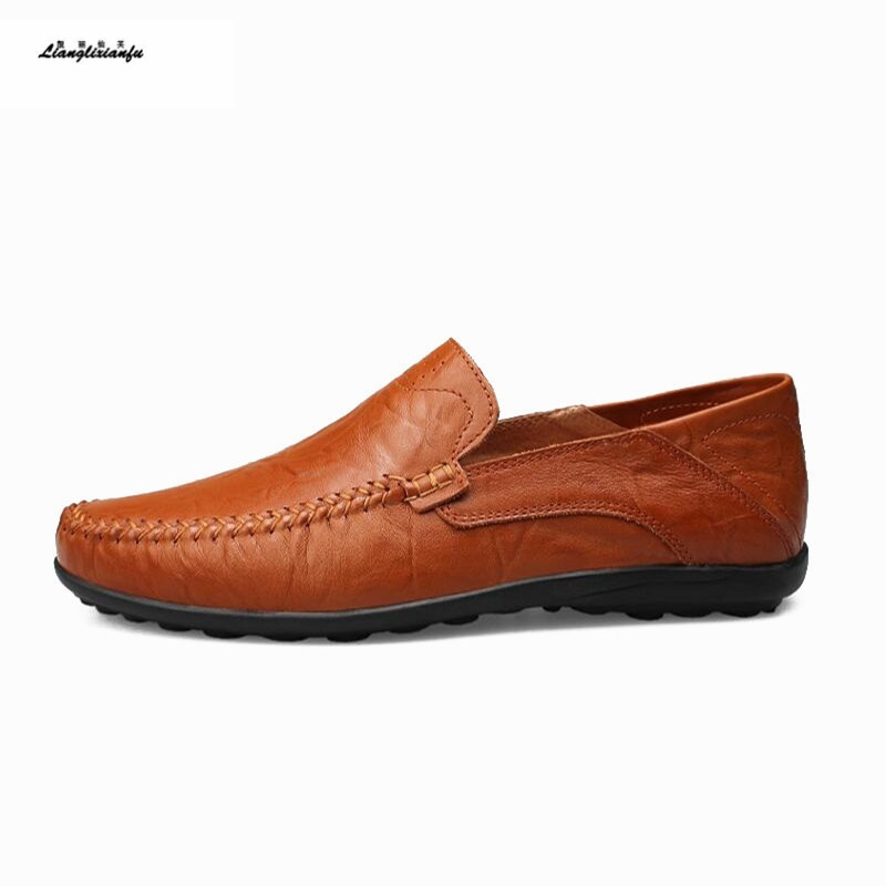 Driving Shoe Soft-Bottom Genuine-Leather Zapato Outdoor Slip-On Male 49 Flats Causal