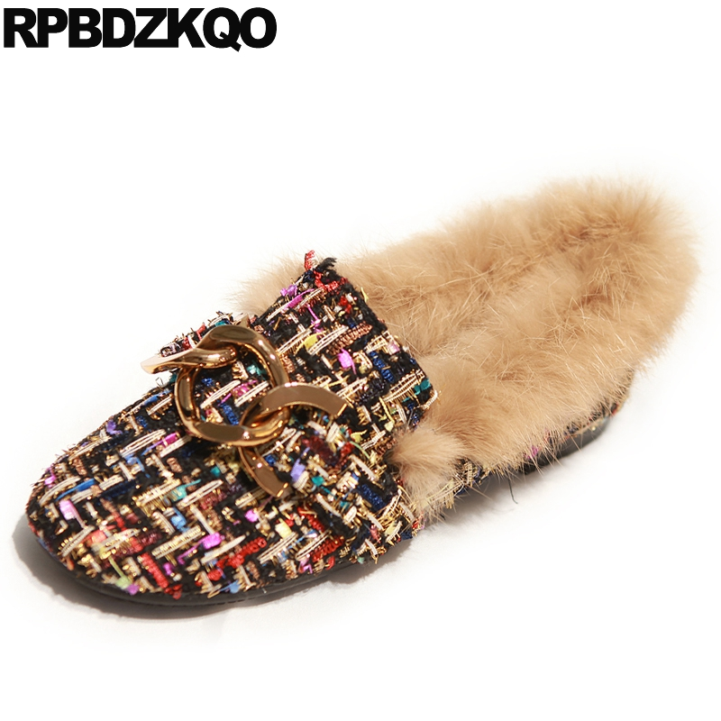 Designer Shoes China Chain Flats Party Metal Woven Rabbit Fur Women Round Toe Loafers Chinese Beautiful Spring Autumn Drop slhjc 2017 autumn flat heel shoes pointed toe women flats with metal chain real fur loafers work shoes d25