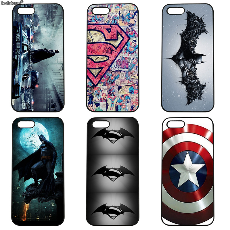 Cartoon Bat man Captain America Cell Phone Case Hard PC Cover for iphone 8 7 6 6S Plus X 5S 5C 5 SE 4 4S iPod Touch 4 5 6 Shell