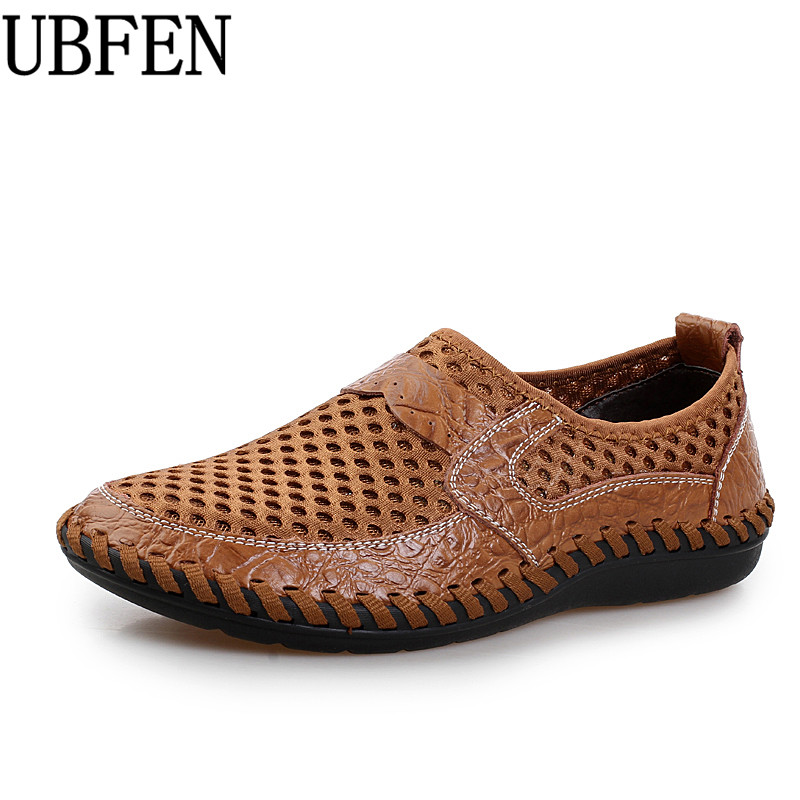 UBFEN 2017 Summer Breathable Mesh Shoes Casual Shoes For Men Split Leather Slip On Fashion Male Shoes Man Soft Comfortable branded men s penny loafes casual men s full grain leather emboss crocodile boat shoes slip on breathable moccasin driving shoes