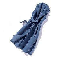 Жилет женские; из 100% й шерсти пальто куртка осень зима женская одежда 2018 корейский двухсторонняя Длинный жилет шерстяное пальто Casaco Feminino ZT740