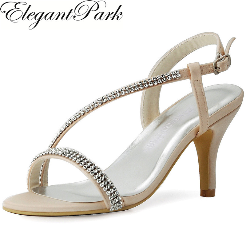 Woman Summer Sandals High Heel Strap Wedding Shoes Silver Champagne Rhinestone Satin Lady Bridesmaid Party Bridal Pumps EP11097 new vogue celebrity brand desiger women sandals stiletto feather hairy buckle strap high heels bridesmaid bridal wedding pumps