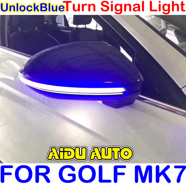 Unlock Blue LED Flowing Rear View Dynamic Sequential MIRROR Water Turn Signal Light For VW Golf 7 MK7 VII