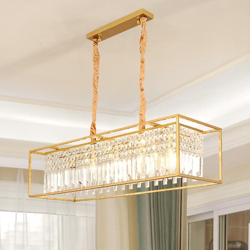 Modern Gold Metal Led Chandeliers Lighting Lustre Crystal Living Room Led Pendant Chandelier Light Bedroom Hanging Lamp Fixture