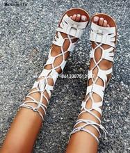 Лето 2017 mancuello девочек мода гладиатор вырезает богемия стиль середины икры открытым носком плоские короткие сапоги пинетки botas белый