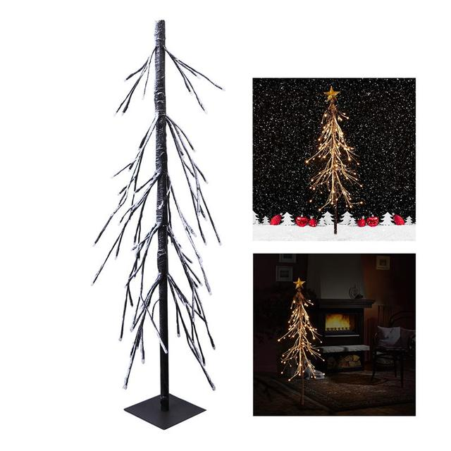 yunlights 75 led decorative fir snow tree light with remote control for christmas village home festival