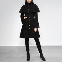 Черный винтажный плащ с расклешенными рукавами средняя длинная куртка для женщин 2019 Зима Thicking средней длины шерстяное пальто, верхняя одеж