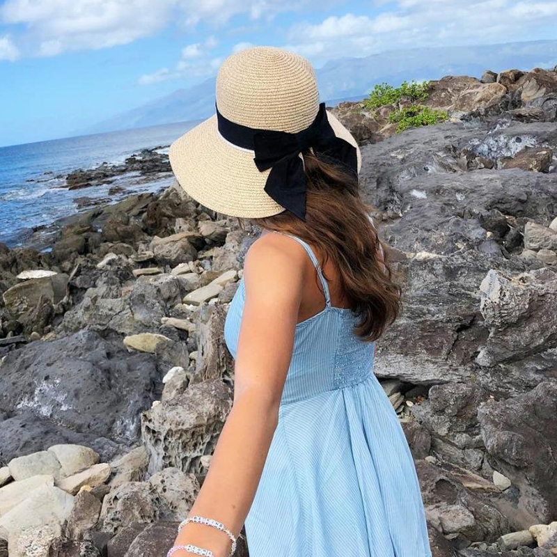 998863df9b9 SIGGI Women Floppy Summer Sun Straw Hats Solid Bowknot Soft Wide Brim UPF  50+ UV Caps Foldable Beach Fashion For Girls 89015