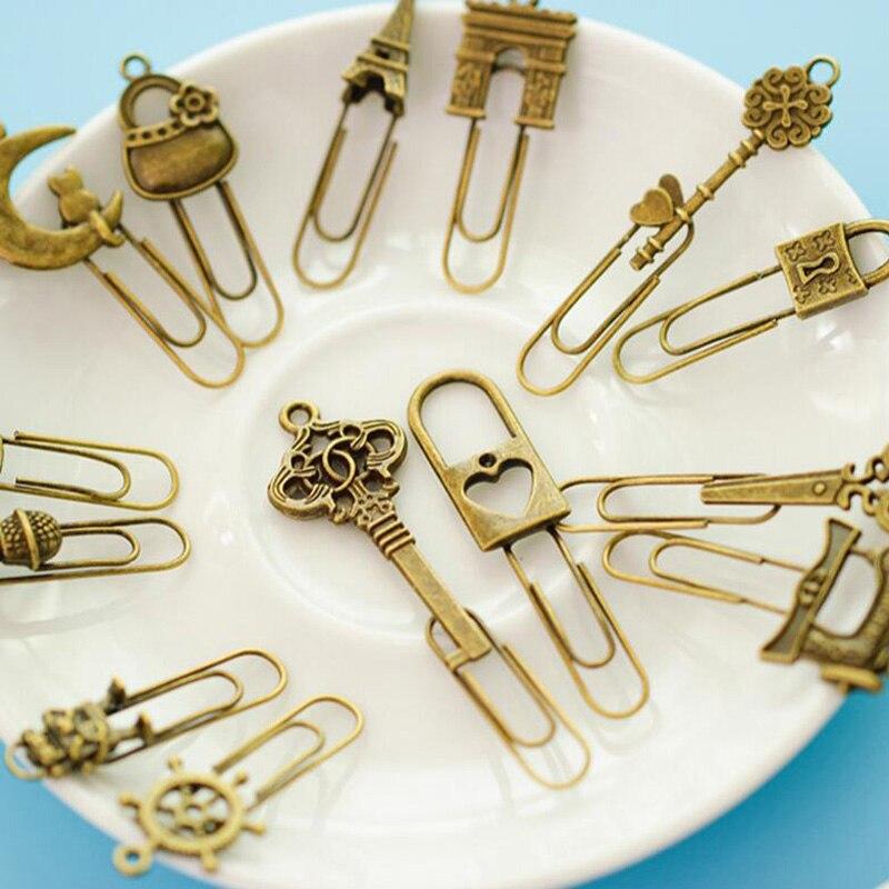 10 peças/lote bonito marcador de metal do vintage chave bookmarks clipe de papel para livro papelaria frete grátis escola escritório livro marcas