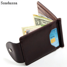 Korea fashion Brown grey color Money clips high quality leather men wallets hasp mini purses vintage men wallet XF127(China)