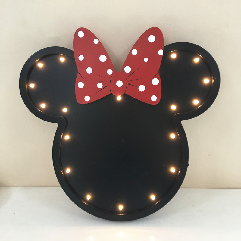 Cute Mickey LED Nightlight Fashion Northern Europe Wooden Home Living room Decor Wall lamp Festival kids gifts veilleuse80524