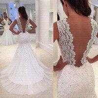2019 Arabic African Backless Gorgeous Lace Applique Mermaid Wedding Dress Sexy Bridal Gowns Vestido De Novia