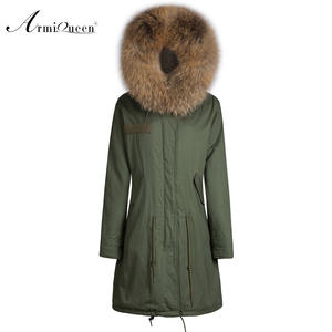 Fur Coat Hooded Long Jacket Long-Style Casual Fashion with Garment Natural-Color