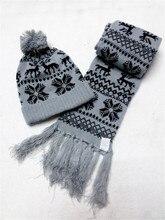 Women's Warm deer Snowflake Knit 2 Piece Hat Scarf Sets christmas fashion
