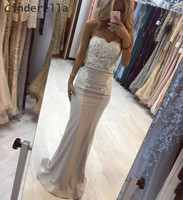 Cinderella Champagne Sweetheart Sleeveless Court Train Satin Lace Applique Prom Dresses Lace Mermaid Party Gown For Prom