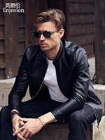 Enjeolon new brand PU Motorcycle Leather Jacket Men regular PU fabric fashion jacket men Casual black Coats free ship P307