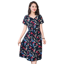 2018 Style Dress Ladies Elegant Summer High Quality Dress New V Neck Women Dress Floral Print Short Sleeve fashion Party Vestido