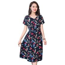 2018 Style Dress Ladies Elegant Summer High Quality Dress New V Neck Women Dress Floral Print Short Sleeve fashion Party Vestido