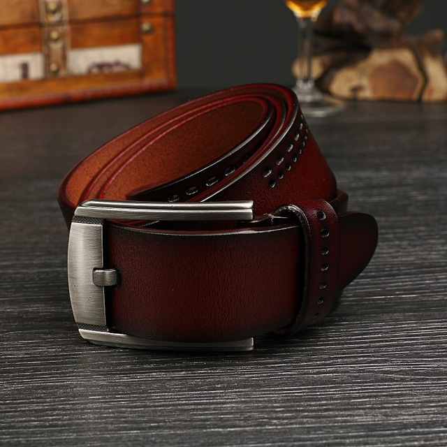Men's fashion 100% cowhide genuine leather belts for men brand Strap male pin buckle fancy vintage jeans cintos freeshipping