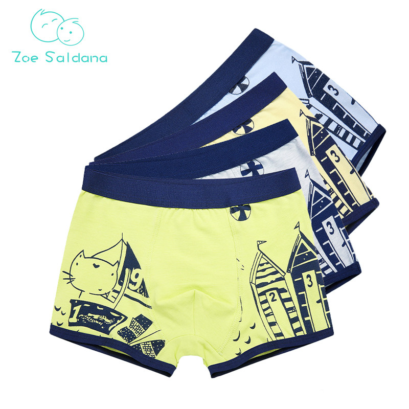 все цены на Zoe Saldana Boy's Underwear 2018 New 4 Pcs/Lot Cartoon Cat Pattern Boxer Children Panties Cotton Baby Boy Soft Short Underpants