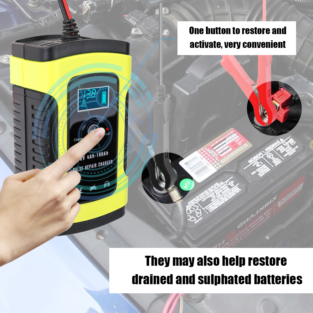 Car Motorcycle Battery Charger 12V 6A Full Automatic 3 Stages Lead Acid AGM GEL Intelligent LCD Display Battery Charger