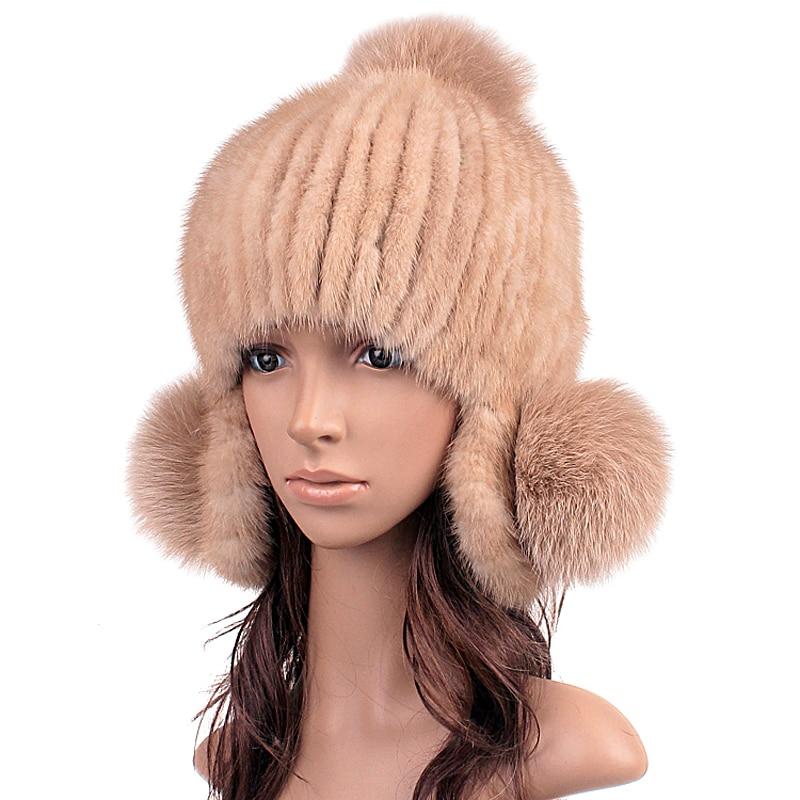 ФОТО Real Mink Fur Hats Knitted Beanie With Fox Fur Cute Ball Women Thicken Woolen Lining Hat Elegant Winter Fur Beanies For Women