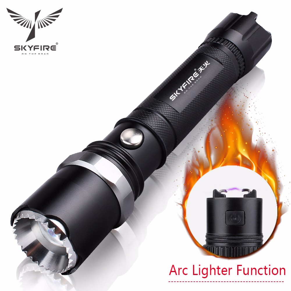 SKYFIRE Arc Lighter Latarka LED Self Defense Attack Head Zoomable Latarka Lanterna Rechargeable 18650 Battery and Mount