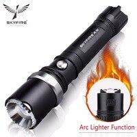 SKYFIRE Ark Çakmak LED El Feneri Kendini Savunma Saldırı Başkanı Zumlanabilir Torch ışıkları lanterna Şarj Edilebilir 18650 Pil ve Montaj