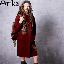 Artka Women's Winter New Solid Color Ethnic Embroidery Woolen Coat Vintage Hooded Long Sleeve Wool Outerwear FA11660Q