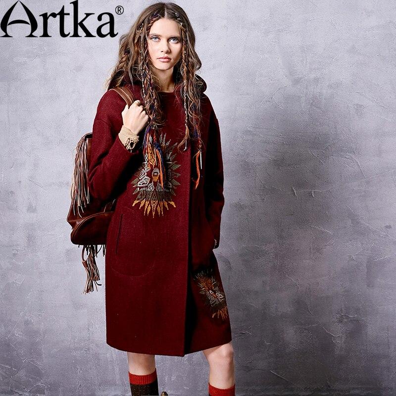 Artka 여성 겨울 새로운 단색 민족 자수 모직 코트 빈티지 후드 긴 소매 양모 겉옷 fa11660q-에서울 & 블렌드부터 여성 의류 의  그룹 1