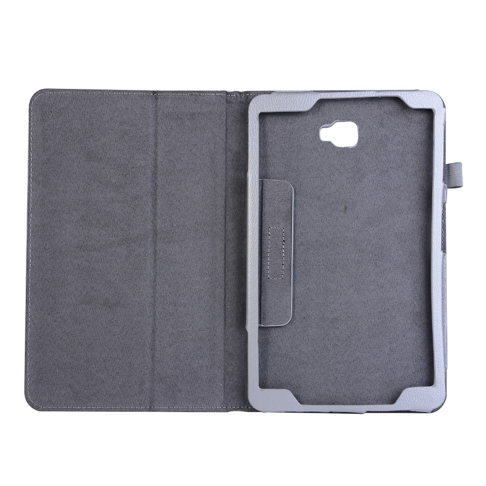 Litchi Stand Flip Folio PU Leather Cover For Samsung Galaxy Tab A 10.1 T580 T585 SM-T580 T580N Tablet Case Coque+Stylus Pen+Film