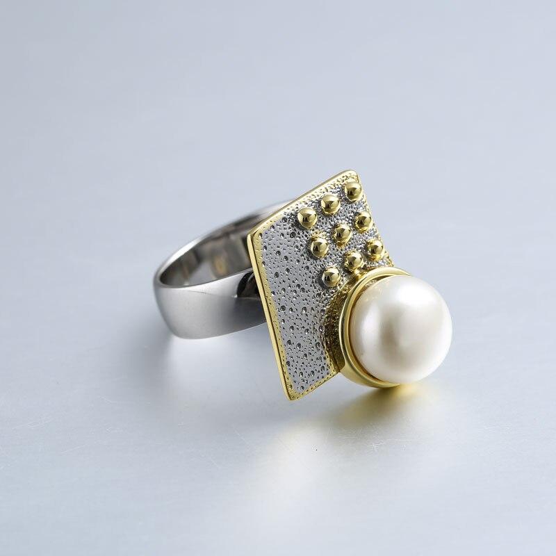 Baroque perle anneaux pour femmes bijoux 925 en argent sterling 10mm perle anneaux or fait à la main design géométrique face avant naturel - 3