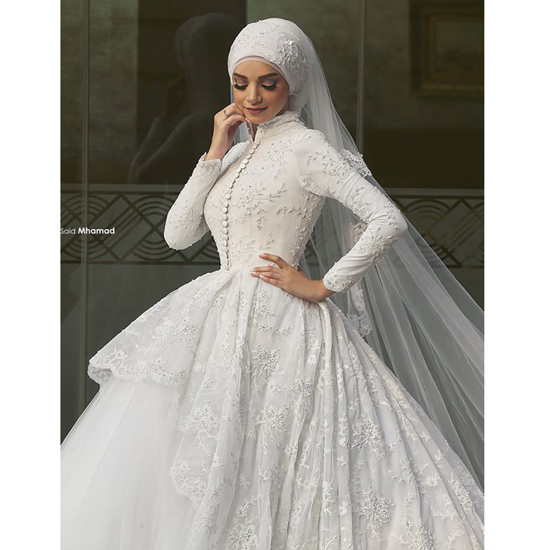 2017 Gorgeous Ball Gown High Collar Muslim font b Hijab b font Bridal Wedding Dress Lace
