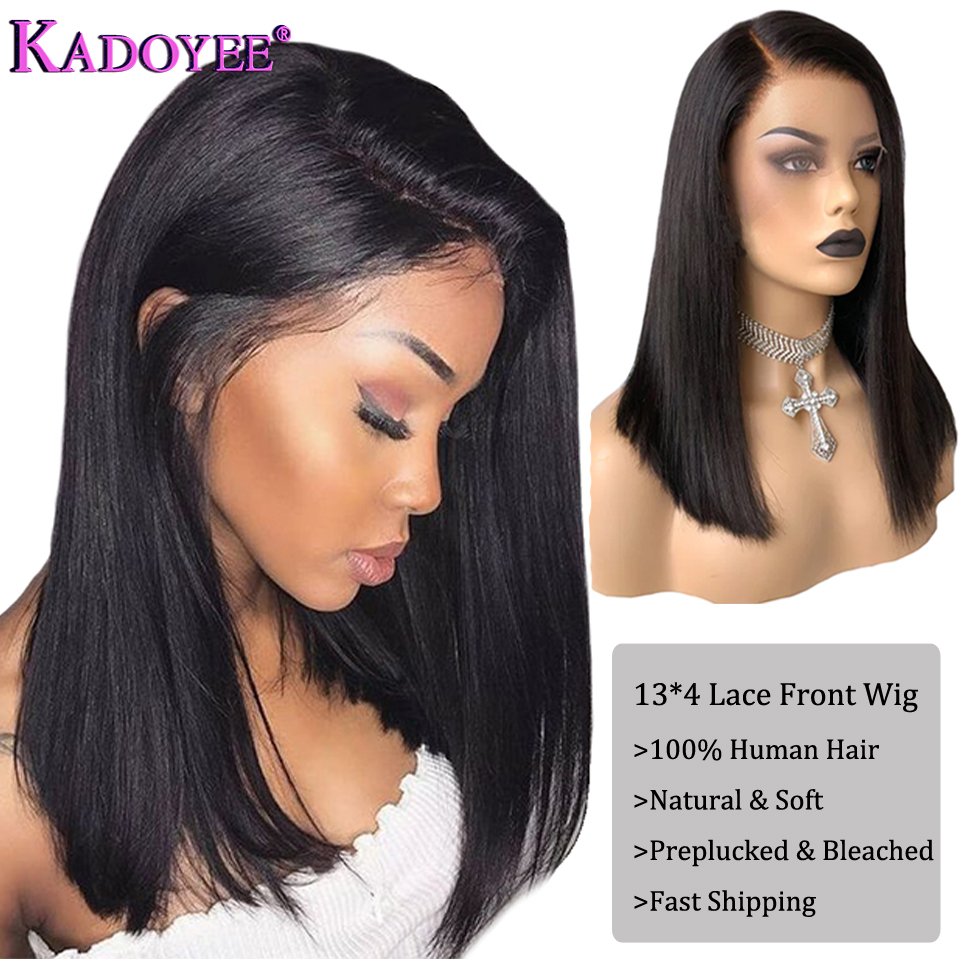 Brazilian Bob Wig Straight Lace Front Human Hair Wigs Pre Plucked Natural Color Bleached Knots Remy Hair Side Part Frontal Wig