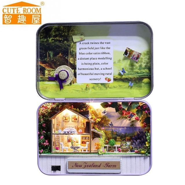 New Diy Doll House Wooden Miniature Doll Houses Furniture Box New