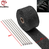 CARBOLE 2 Roll x 2 50Ft & 50mm*15M Black Fiberglass Exhaust Header Pipe Heat Wrap Tape and 20 Ties Kit For Car & Motorcycle