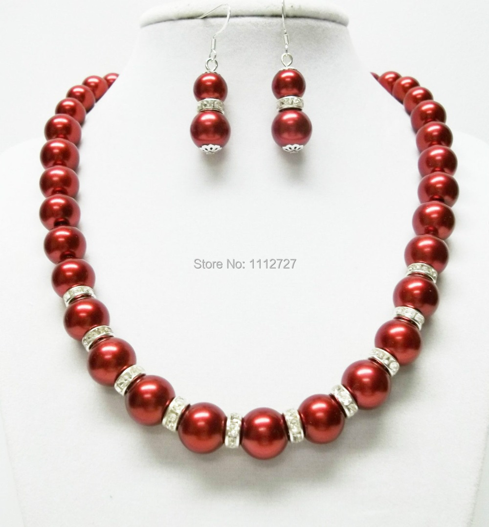 """Discount!DIY Lovely 10mm Red Sea Shell Pearl Necklace Earring Set jewelry Set 18"""" beads jewelry making AAA+++ about43pcs/strands"""