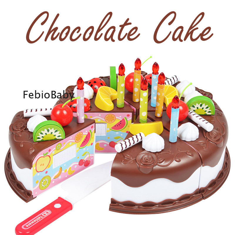Creative 37pcs Set Pretend Play Chocolate Cutting Birthday Cake Kitchen Food Toys Cocina De Juguete Toy Girls Gift For Kids DIY