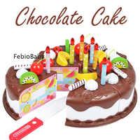 Juego creativo De 37 piezas juego De simulación De Chocolate para cortar pastel De cumpleaños Cocina alimentos juguetes Cocina De Juguete para niñas regalo para niños DIY