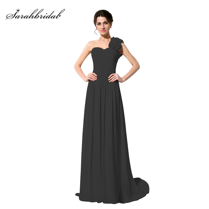 Simple Cheap Inventory Clearance One Shoulder   Bridesmaid     Dresses   Handmade Flowers Sweetheart Chiffon Formal   Dresses   SLD126