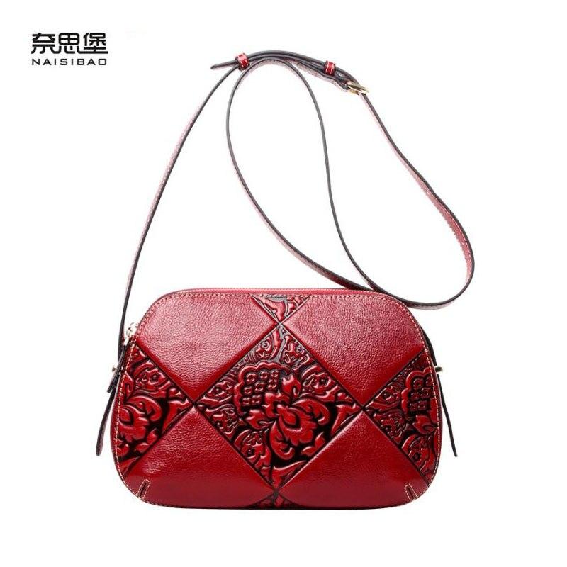 NAISIBAO 2019 nouveau top peau de vache femmes en cuir véritable sac en relief fleur sac célèbre marque de mode femmes en cuir sacs à bandoulière
