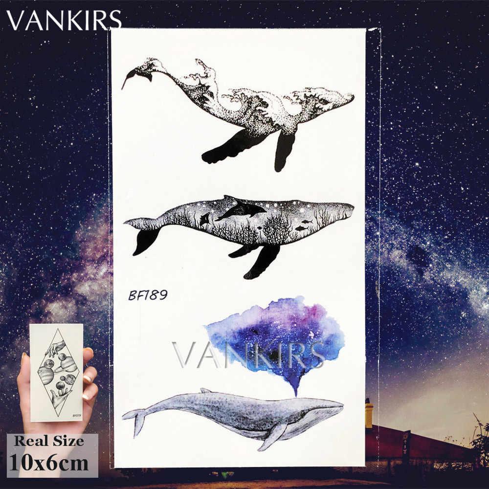 Piccola Balena Adesivi Per Bambini Delle Donne Del Braccio Del Tatuaggio di Arte Tatuaggi Temporanei Delfino Onde di Trasferimento Dell'acqua Tatuaggi Del Corpo Oceano Animali Collo