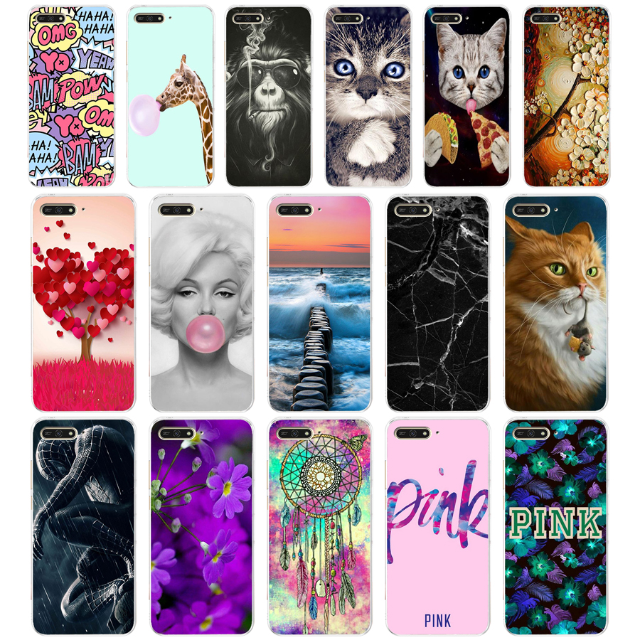 F <font><b>case</b></font> <font><b>cover</b></font> for <font><b>huawei</b></font> <font><b>Y6</b></font> <font><b>2018</b></font> <font><b>case</b></font> back <font><b>cover</b></font> full 360 protective soft tpu sillicone Coque cute image