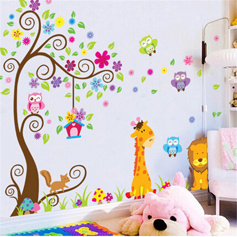 Hot Sales For Playpens Baby Owl Lions Tree WallStickers Removable Cartoon Children Rooms Decor Kids Babys Playpen